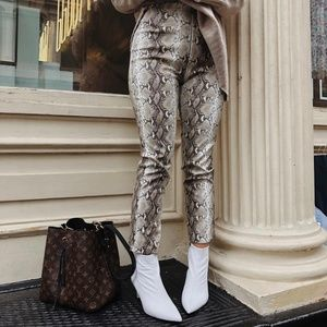 Snakeskin Faux Leather Pants